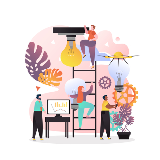 People working on strategy illustration